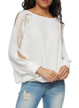 Jewel Encrusted Slit Long Sleeve Top - WHITE - 3001067330025