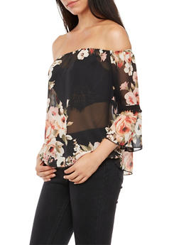 Floral Off the Shoulder Bell Sleeves Top - 3001067330061