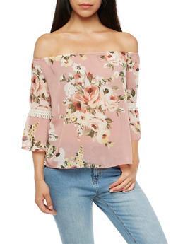 Floral Off the Shoulder Bell Sleeves Top - 3001067330061