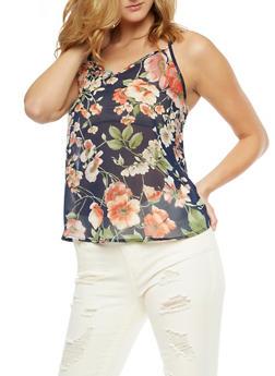 Sleeveless Floral Print Top - 3001067330062