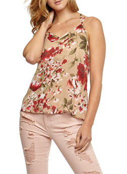 Sleeveless Floral Print Top - 3001067330062