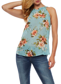 Sleeveless Floral High Neck Top - 3001067330064