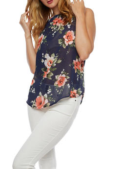 Sleeveless Floral High Neck Top - 3001067330064
