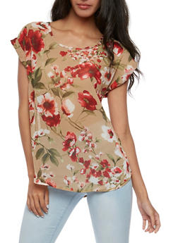 Short Sleeve Floral Blouse - 3001067330065