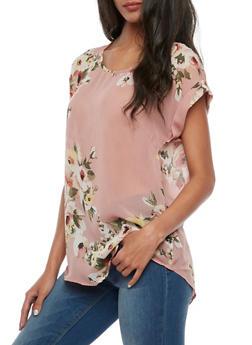 Short Sleeve Floral Blouse - 3001067330066
