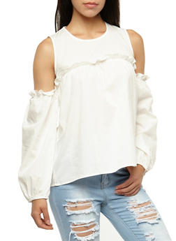 Cold Shoulder Top With Ruffle Detail - 3001067330071