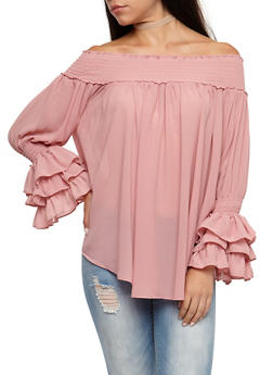 Smocked Off the Shoulder Peasant Top - 3001067330072