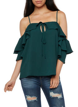 Cold Shoulder Solid Ruffled Sleeve Blouse - 3001067330073