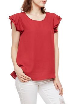 Ruffled Sleeves Blouse - 3001067330074