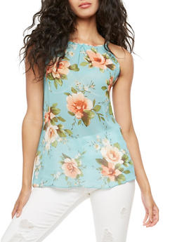 Sleeveless Floral Top - 3001067330076
