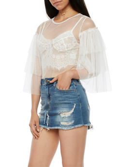 Tulle Top with Tiered Sleeves - 3001067330227