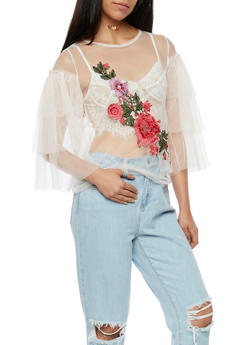 Floral Applique Tulle Top with Tiered Sleeves - 3001067330228