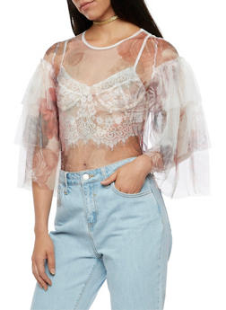Floral Tulle Top with Tiered Sleeves - 3001067330229