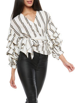 Striped Bubble Sleeve Wrap Front Shirt - 3001067330256
