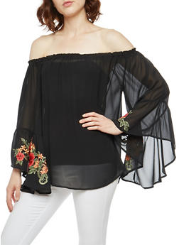 Embroidered Off the Shoulder Crepe Knit Top - 3001067330257