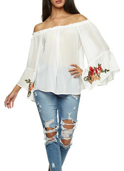 Embroidered Off the Shoulder Crepe Knit Top - WHITE - 3001067330257