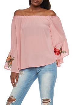 Embroidered Off the Shoulder Crepe Knit Top - BLUSH - 3001067330257