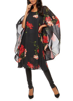Floral Cold Shoulder Dramatic Mesh Sleeve Tunic Top - BLACK - 3001067330259