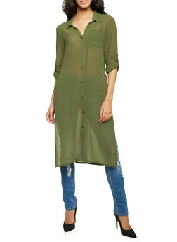 Chiffon Tunic Top with High Side Slits - OLIVE - 3001067330712