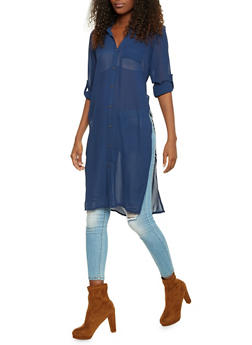 Chiffon Tunic Top with High Side Slits - 3001067330712