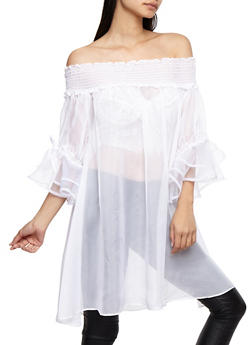 Sheer Off the Shoulder Maxi Top - WHITE - 3001067330835