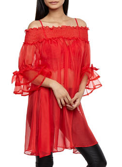 Sheer Off the Shoulder Maxi Top - 3001067330835