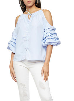 Striped Ruched Sleeve Top with Tie Neck - 3001067330836