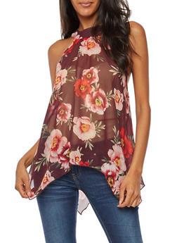 Sleeveless Asymmetrical Floral Print Top - 3001067330838