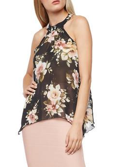 Sleeveless Floral Sheer Asymmetrical Top - 3001067330840