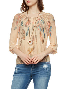 Feather Print Mesh Long Sleeve Top - 3001067330847