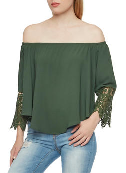 Off the Shoulder Top with Crochet Trim Sleeves - 3001067334136