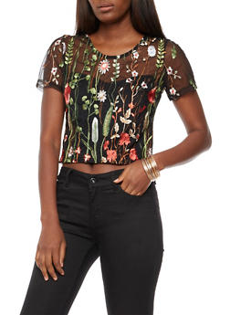 Floral Embroidered Mesh Top - 3001067334318
