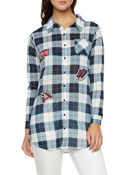 Plaid Tunic Top with Patches - 3001067335001