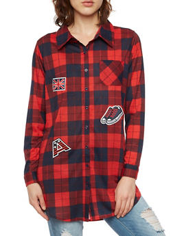 Plaid Tunic Top with Patches - RED/NAVY - 3001067335001