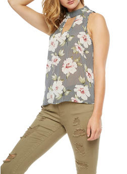 Sleeveless Printed Keyhole Top - 3001067337214