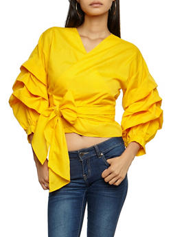 Tiered Sleeves Wrap Top - 3001067339999