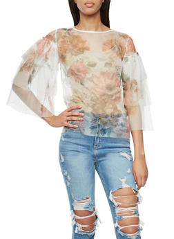 Tier Sleeve Floral Print Mesh Top - 3001074291430