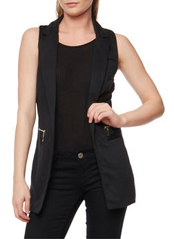 Open Front Vest with Zip Trim - 3003051064666