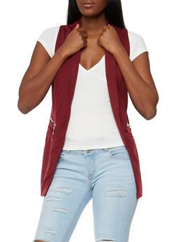 Open Front Vest with Zip Trim - 3003051064666