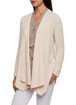 Textured Knit Open Front Jacket - BLUSH - 3003051065274