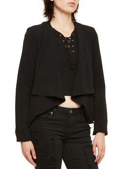 Asymmetrical Blazer with Zipper Pockets - 3003051065554