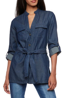 Chambray Top with Button-Cuff Sleeves - 3003051068734