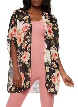 Floral Chiffon Kimono - 3003054261250