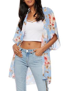 Floral Chiffon Kimono - DENIM/MUSTARD/PINK - 3003054261250