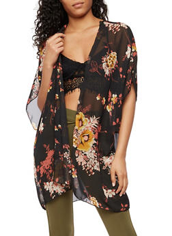 Floral Chiffon Duster - 3003054261253