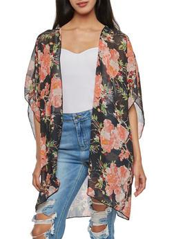 Large Floral Chiffon Kimono - 3003054261256