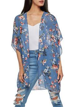Rose Print Kimono - 3003054261257