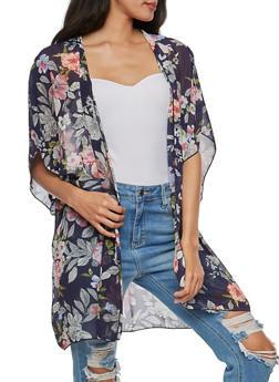 Large Floral Print Chiffon Kimono - 3003054261259