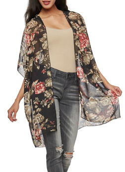 Floral Chiffon Kimono - 3003054261260