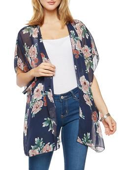 Floral Chiffon Kimono - 3003054261265